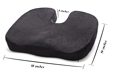 High Density Medium FIRM Premium Quality Memory Foam Seat Cushion For  Coccyx Tailbone And Back Pain