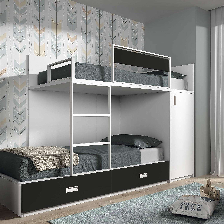 Meubles ROS Etagenbett mit 2 Schubladen und Schrank, 164,4 x 248,5 x 103,4 cm Weiß grau Ardoise échelle à gauche