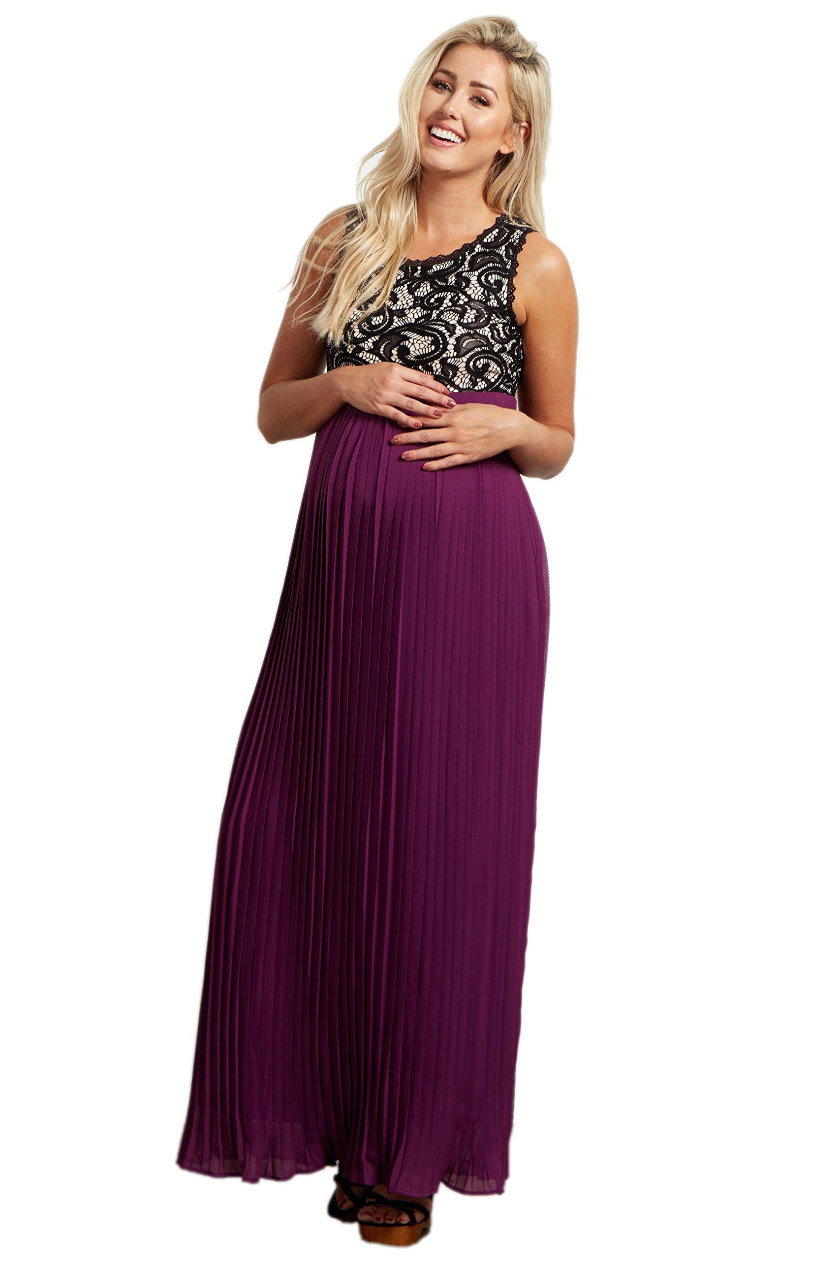 PinkBlush Maternity Purple Pleated Chiffon Lace Top Maxi Dress, Large