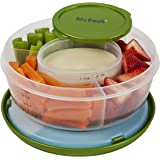 Fit & Fresh Fruit and Veggie Bowl with Removable Ice Pack, Reusable BPA-Free Container with 4 Food Storage Compartments, Healthy On-the-Go Snack