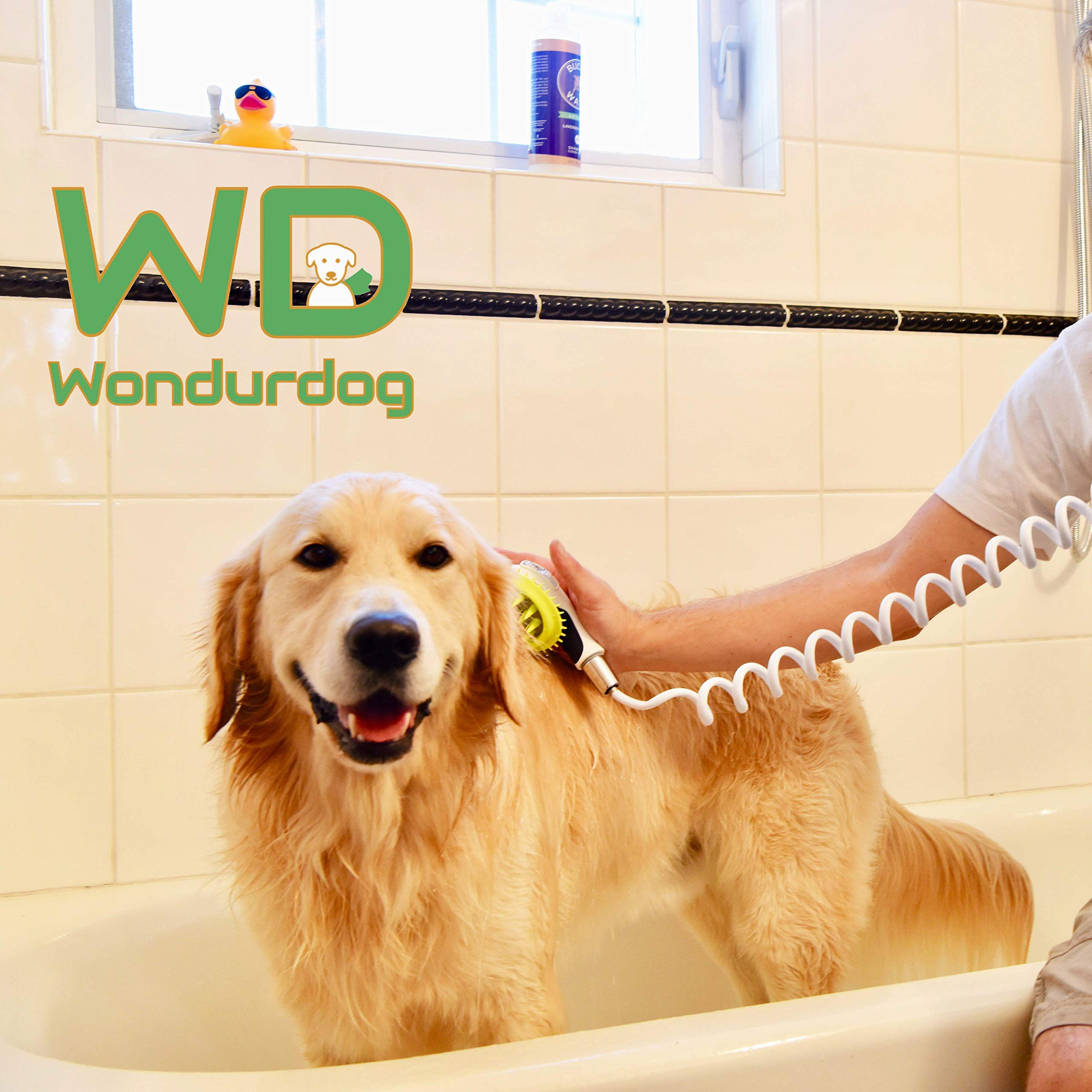 Quality Sink Faucet Pet Wash Kit | Innovative Shower Brush Head w/ Splash Shield | 8 ft Recoil Hose & Metal Faucet Adapter | Kitchen, Bathroom, Utility and Laundry Sink | Fast and Easy Dog Bath System by Wondurdog (Image #1)