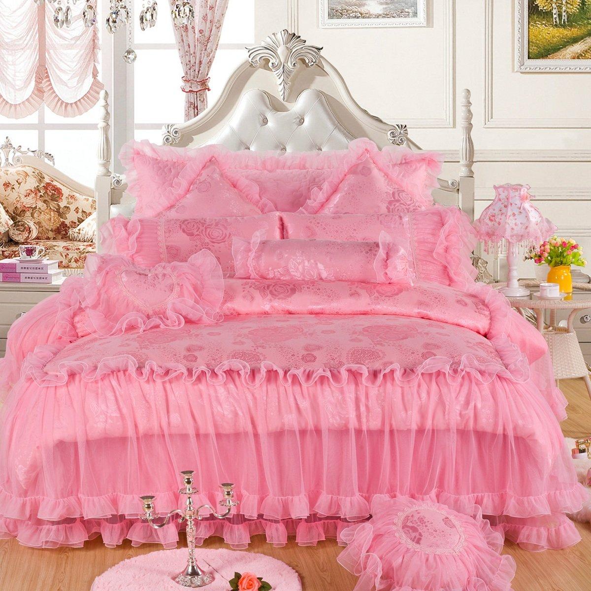 Jacquard Lace Princess Bedding Quilt Set For Wedding, Duvet Cover Set-King (4-Piece, Pink) by Alibasis