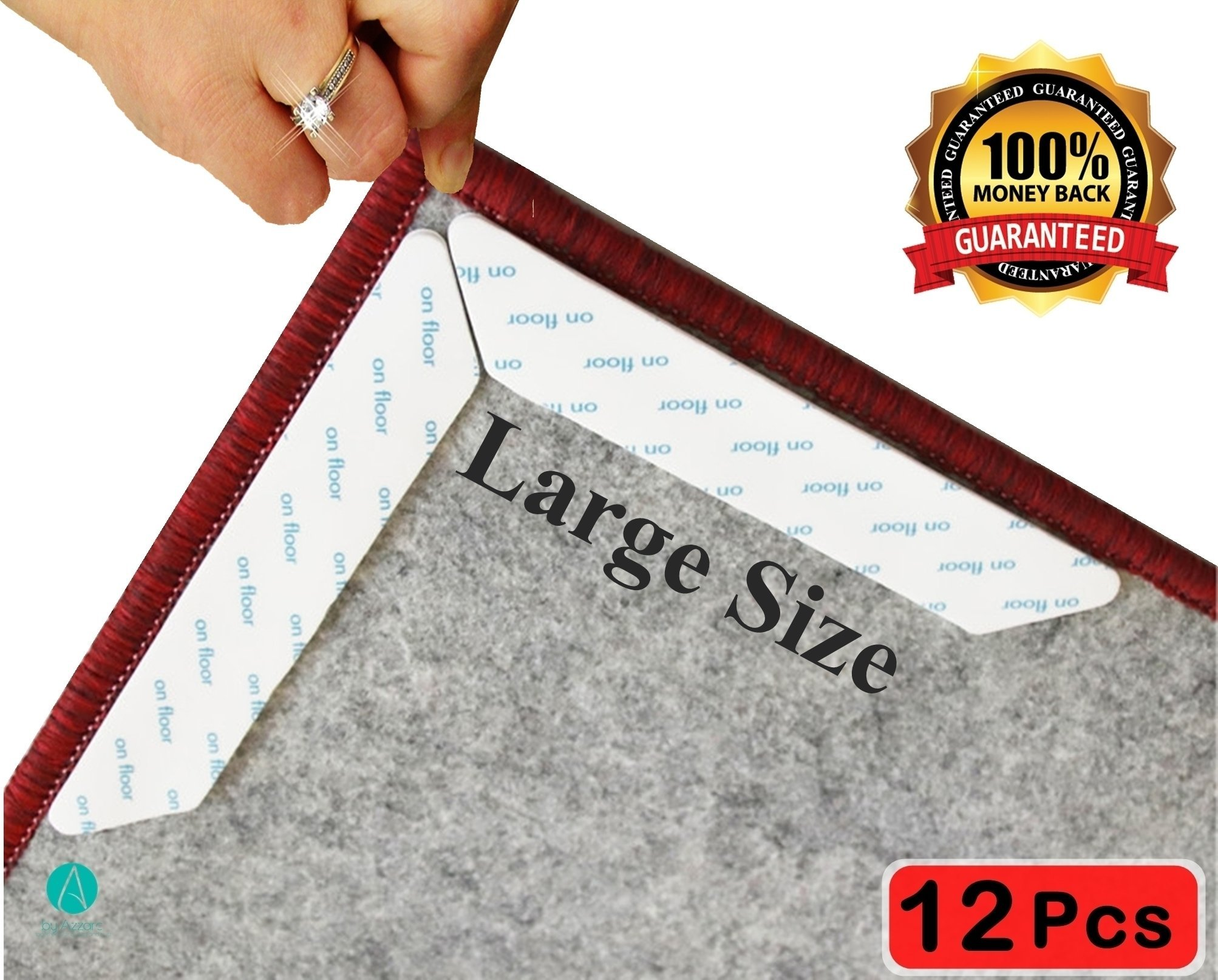 Anti Curling Rug Gripper 12 pcs.Keeps Your Rug in Place & Makes Corners Flat.Reusable,Large,White-Ideal Carpet Pad | Premium Double Sided Anti Slip Carpet Gripper.Best Rug Tape.PU Gel safe Material.