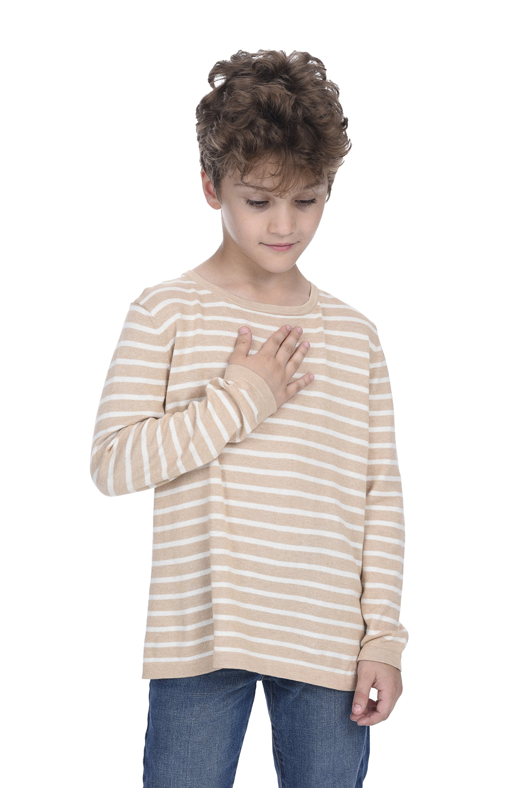 State Cashmere Kids Striped Round Neck Long Sleeve Sweatshirt (Camel/White, XXL(13-14 Years))