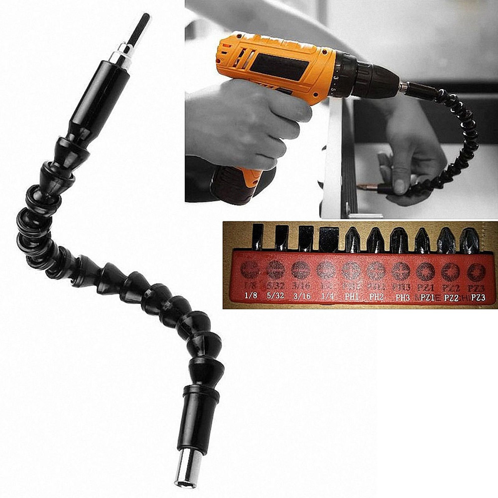MiLanNuo Flexible Shaft Drill Bit Extension Holder Connecting Link 12'' Cobra Bit Black by MiLanNuo (Image #4)
