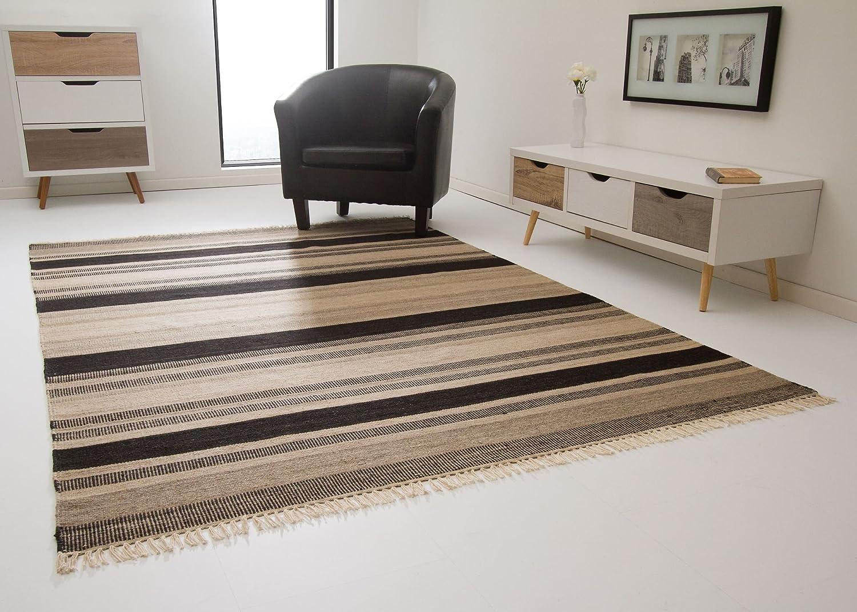 Kelim Palas Teppich Handgewebt aus feinster Wolle Streifen in Braun, Größe  160x230 cm