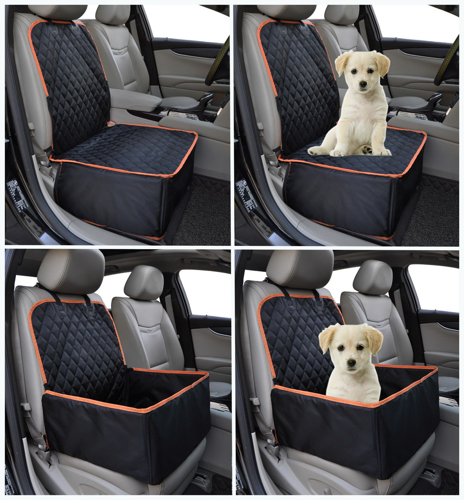 Pet Front Seat Cover for Cars Waterproof Dog Seat Cover Dog Seat Protector with Safe Seat Belt for All Cars, Trucks & SUVs Black