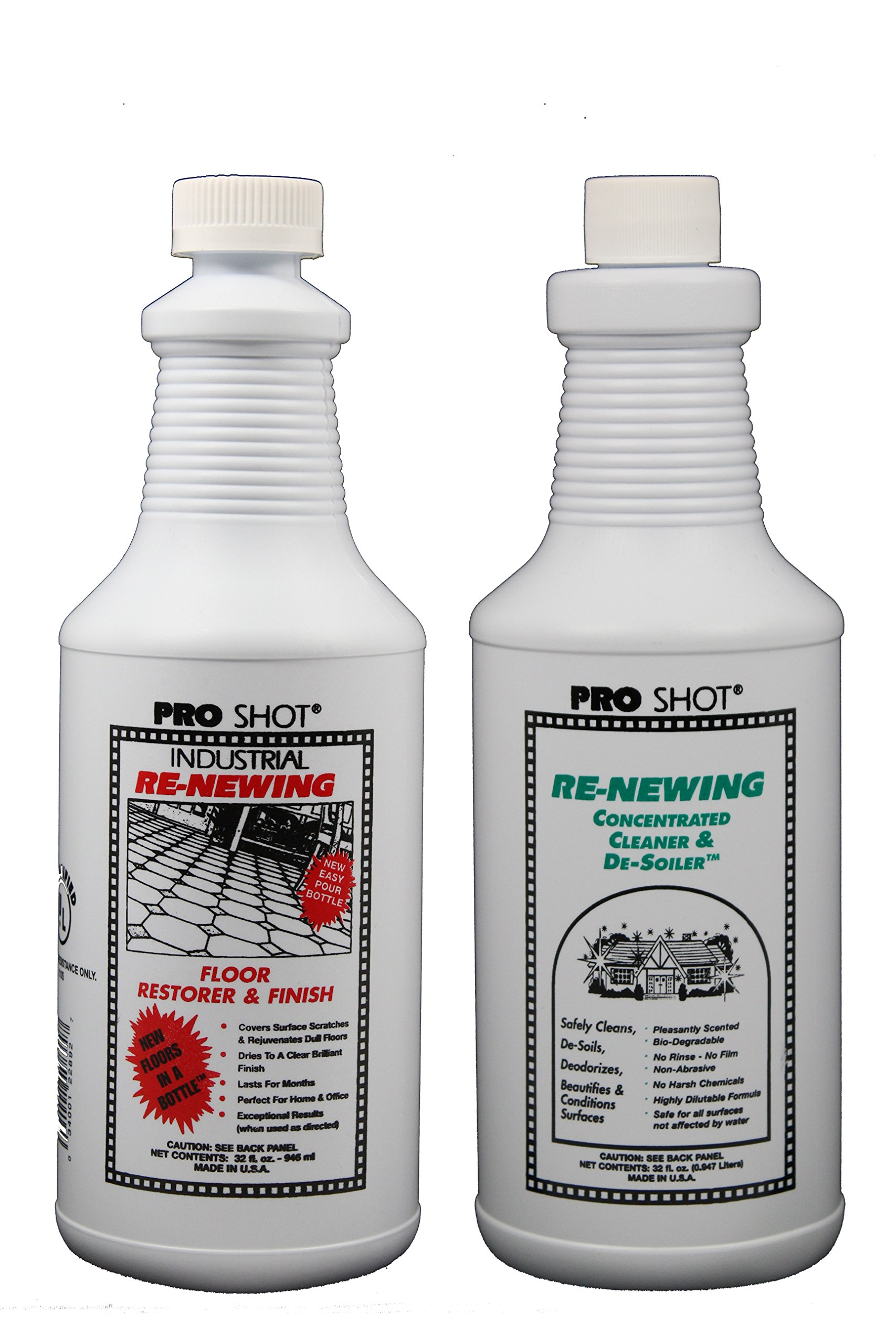 PRO SHOT Industrial Re-Newing Floor Restorer & Finish 32 oz & PRO SHOT Re-Newing Concentrated Cleaner & De-Soiler 32 oz Kit