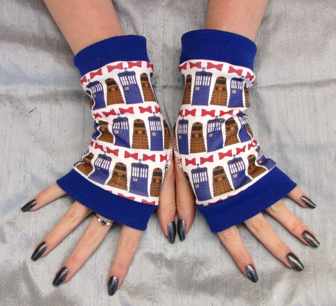 Whovian Fingerless Gloves Bow tie Tardis Dalek Eco Friendly