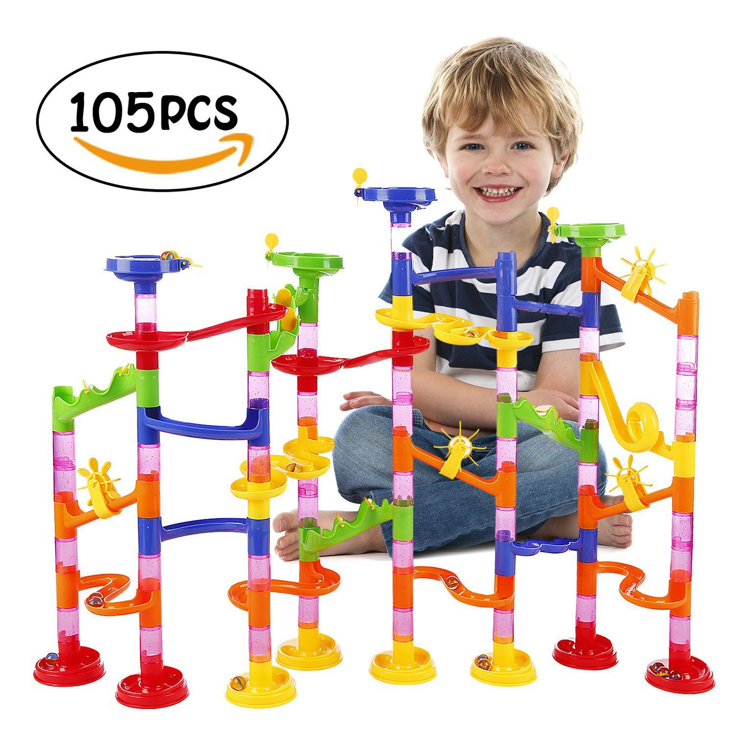 Marble Run Railway Toy BATTOP Marble Run Coaster Railway Construction Child Building Blocks DIY Game for Over 4 Years Old Kids Review