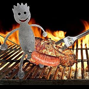 NamcheBarwa Hot Dog & Marshmallow Roasting Sticks, Funny Stainless Steel Man and Woman Adult Shaped Hotdog Sticks for Campfires, Novel Campfire Hotdog Barbecue skewers (B-Hot Dog Man)