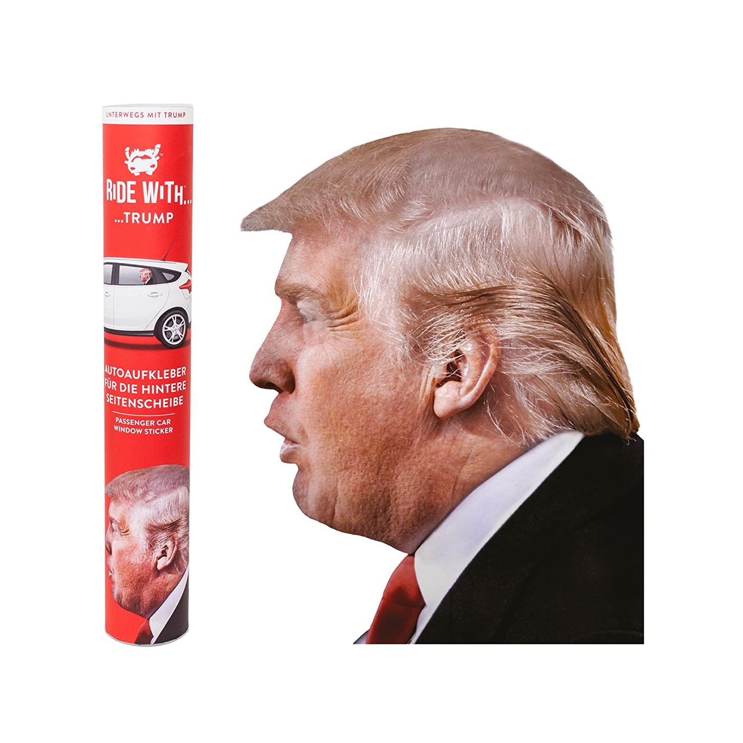 THUMBS UP Thumbsup UK Ride with Trump Left Car Window Sticker RW TRMPLHD