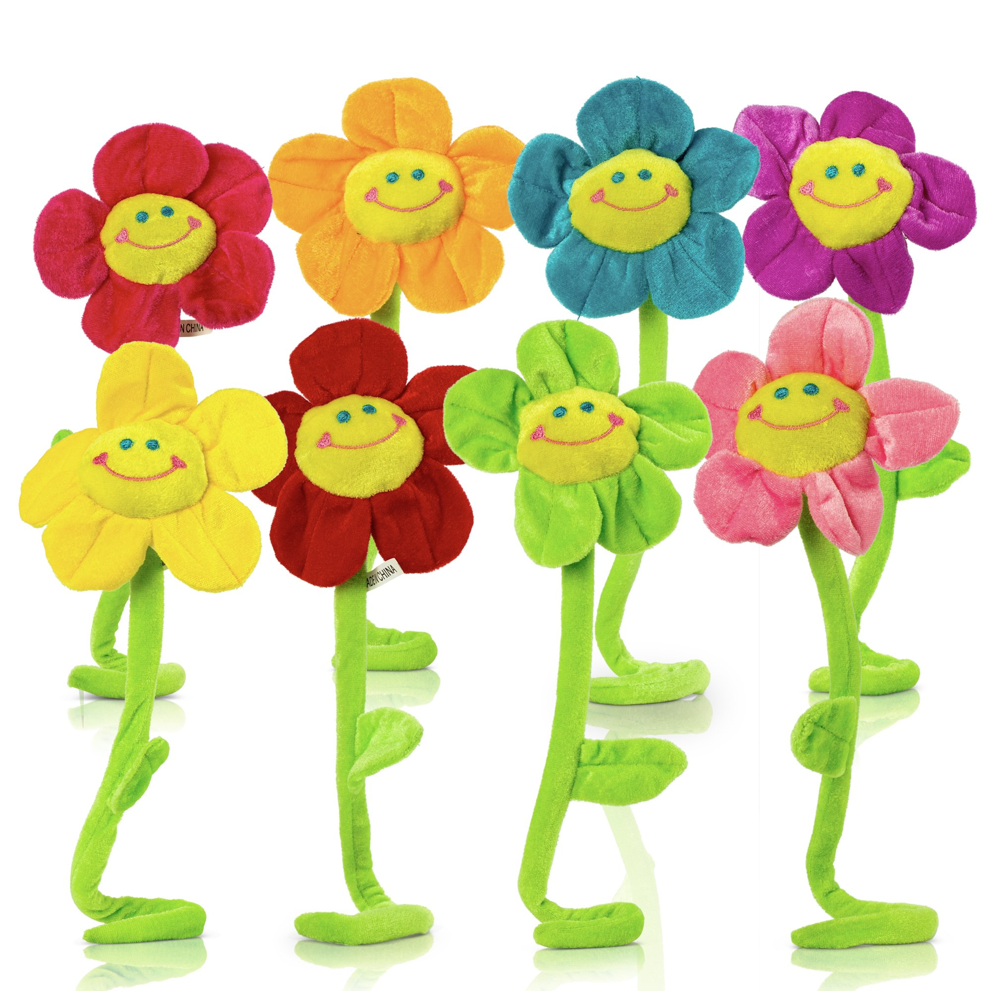 Plush Daisy Flower With Smiley Happy Faces Colorful Soft Bendable Stems Sunflower Toy For Kids Gift Decorations 18'' - 8 Piece