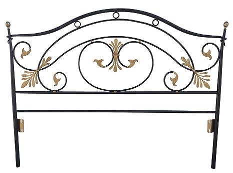 Testata letto matrimoniale in ferro battuto di colore nero e oro ...