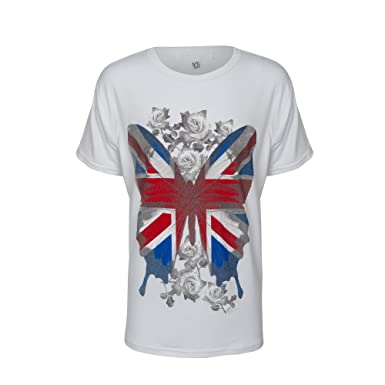 b042c5452 Love Lola Brody & Co. Girls Butterfly T-Shirt Union Jack ...: Amazon ...