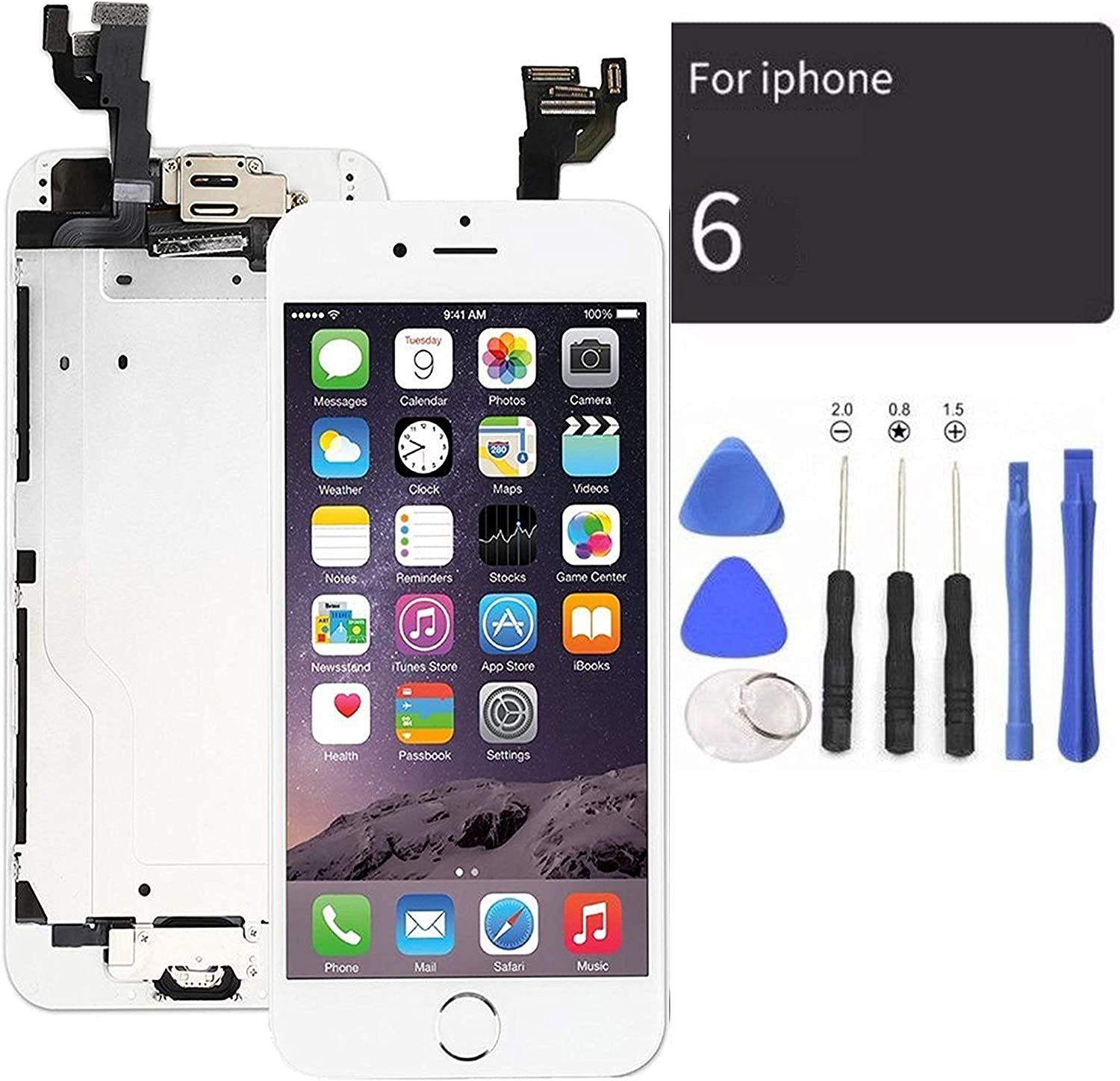 passionTR White LCD Screen Replacement for iPhone 6 Plus 5.5 Inch with Camera Home Button Ear Speaker Proximity Sensor Full Complete Assembly Digitizer Display with Repair Tool kit