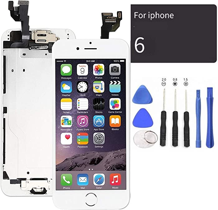 passionTR White LCD Screen Replacement for iPhone 6 4.7 Inch with Camera Home Button Ear Speaker Proximity Sensor Full Complete Assembly Digitizer Display with Repair Tool kit