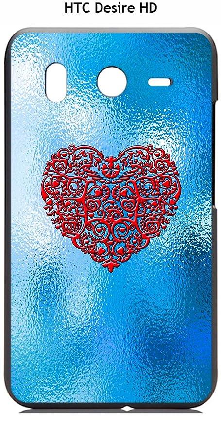 Onozo Cover Htc Desire Hd Design Sfondo Blu Cuore Rosso Amazonit