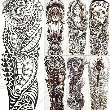 Grandes Tatuajes Temporales De Brazo Completo Tótem Maorí Falso ...