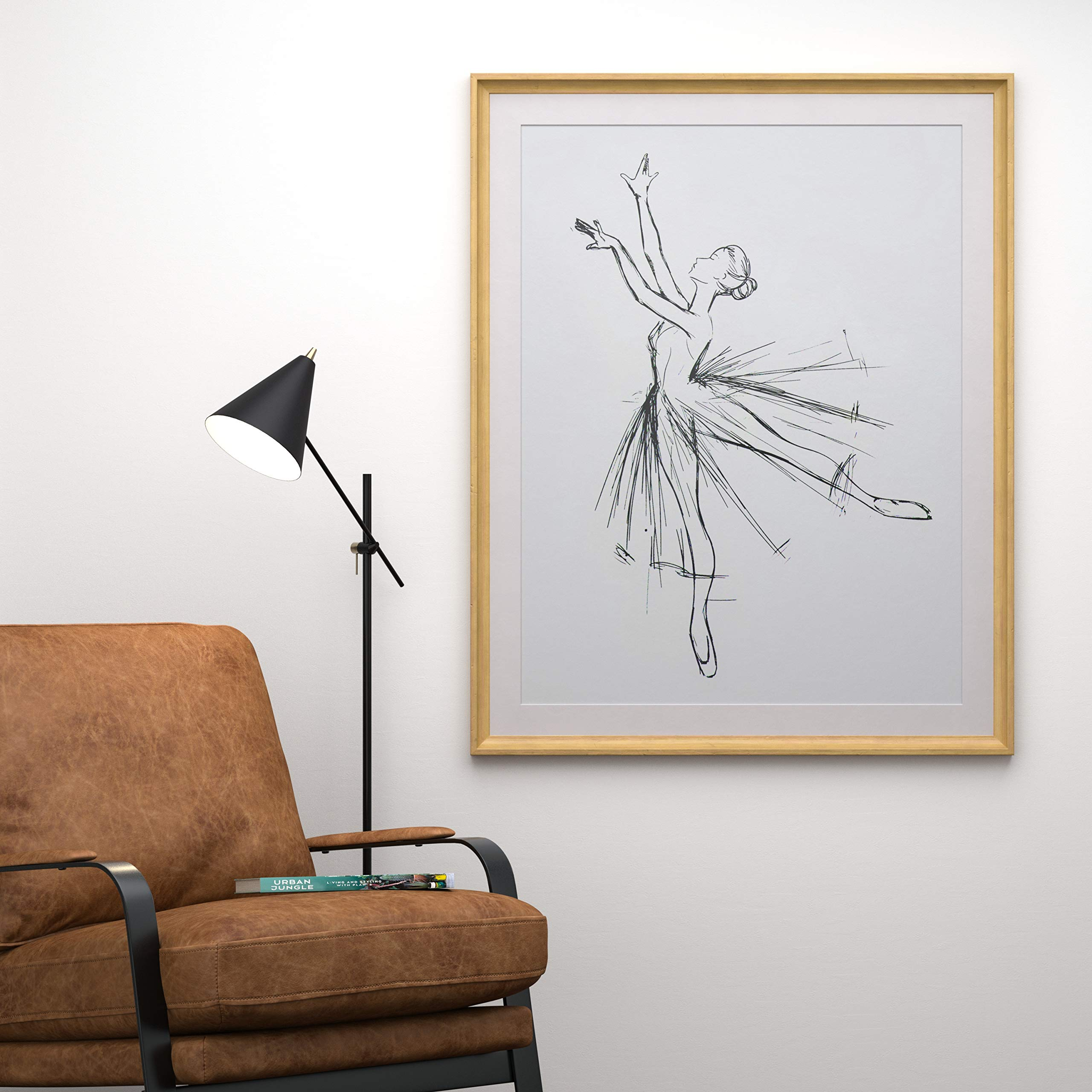 Rivet Modern Sketch of Dancer with Clean White Background, 39.42''H x 31.42''W x 2.27''D including Simple Maple Frame by Rivet (Image #2)