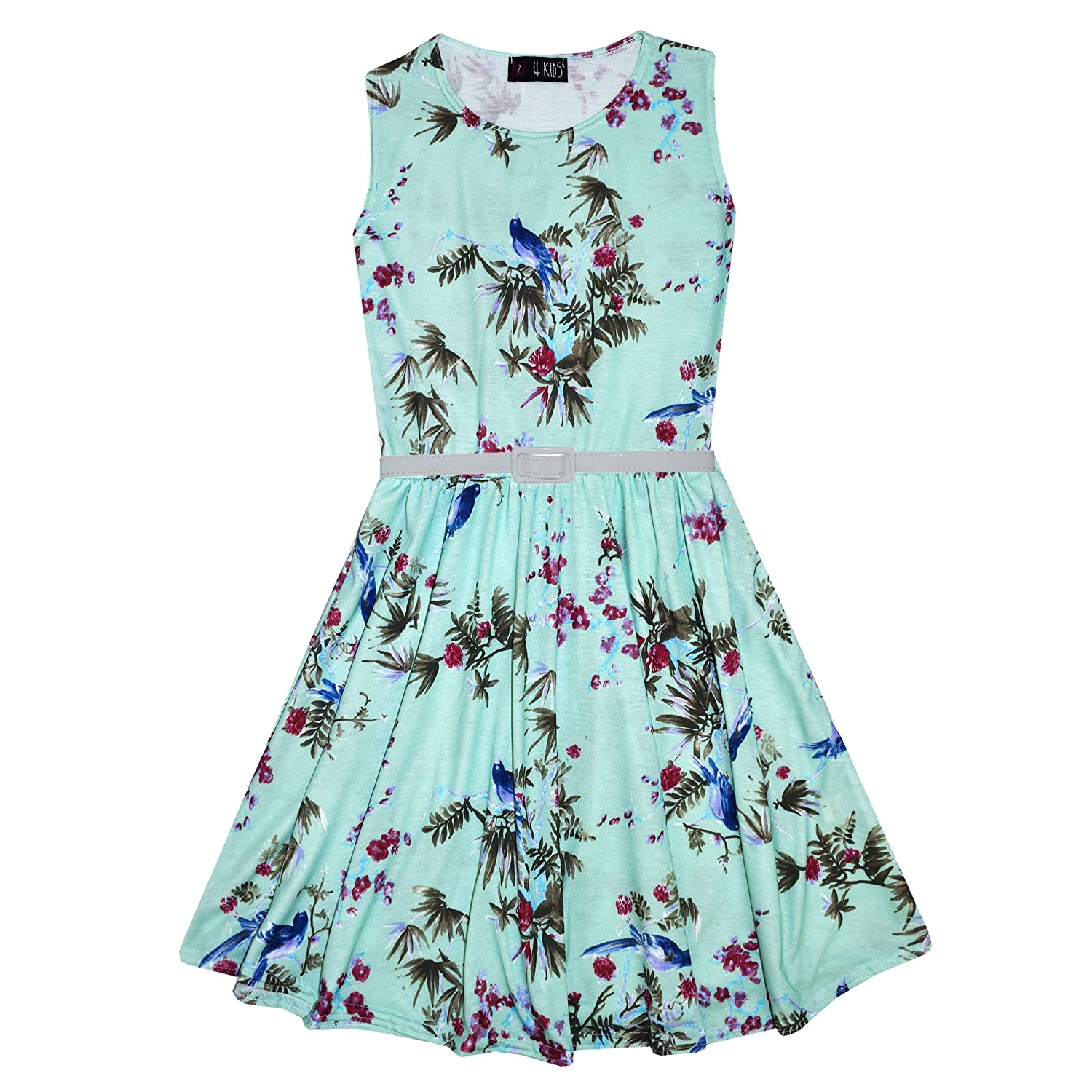 A2Z 4 Kids® Girls Skater Dress Kids Floral Mint Abstract Belted Summer  Party Dance Dresses Age 7 8 9 10 11 12 13 Years  Amazon.co.uk  Clothing 61aeb5a0c
