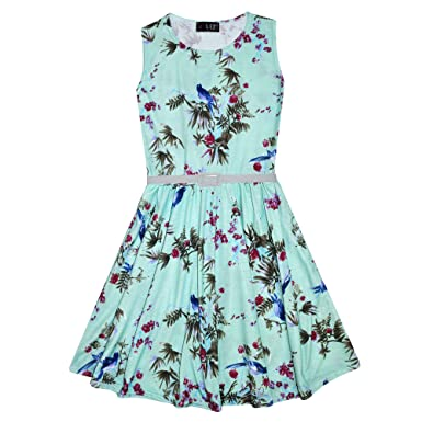 A2Z 4 Kids® Girls Skater Dress Kids Floral Mint Abstract Belted - Skater  Dress Floral 4b8bdef3b