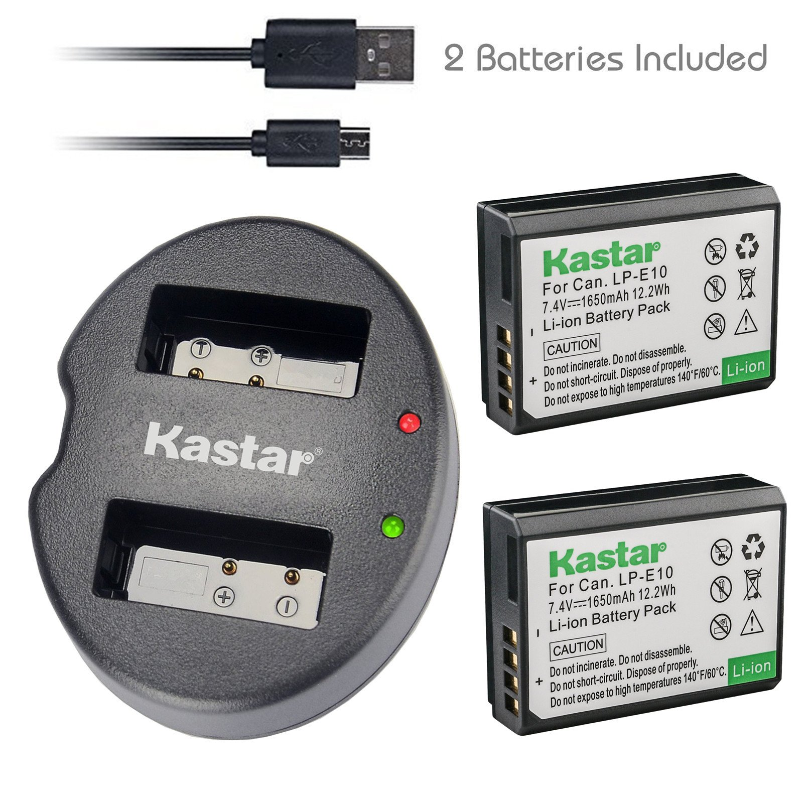Kastar Battery (X2) & Dual USB Charger for Canon LP-E10, LC-E10 and Canon EOS 1100D, EOS 1200D, EOS Rebel T3, EOS Rebel T5, EOS Kiss X50, EOS Kiss X70 DSLR Camera & Canon LPE10 Grip