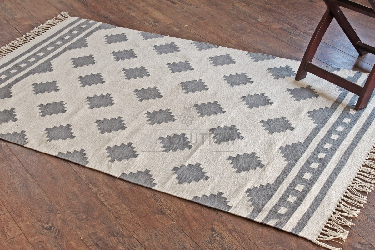 100/% Cotton Style Rugolution Handloom Made 36 x 58 105x170 cm Gray Dhurrie Area Rug 2368