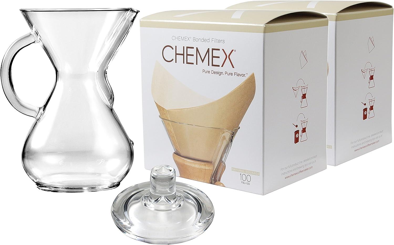 Chemex cristal 30 oz cafetera eléctrica con tapa y 200 puntos ...
