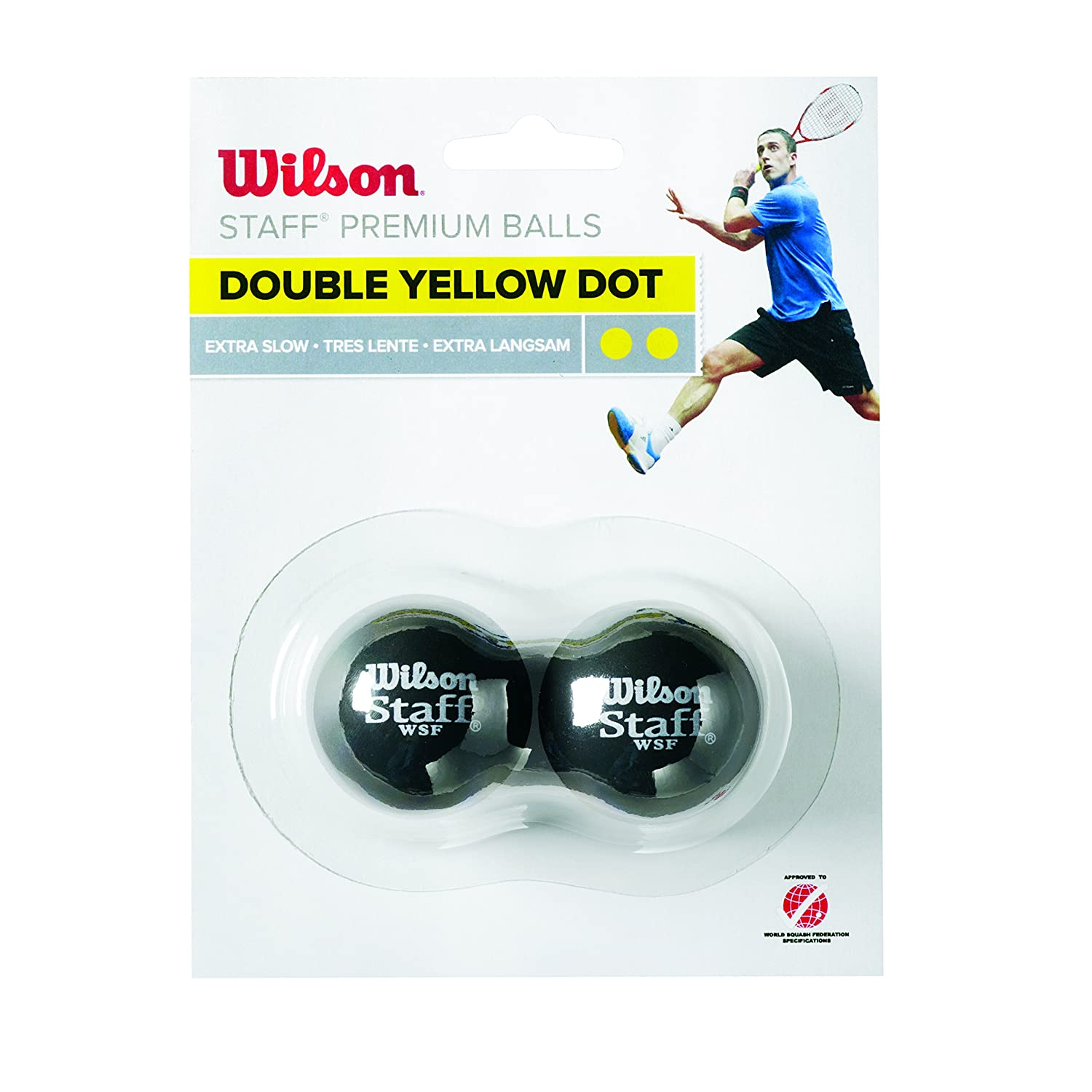 Wilson Staff Squash Balls  Extra Slow (Competitors), Black (Double Yellow Dot), Pack of 2