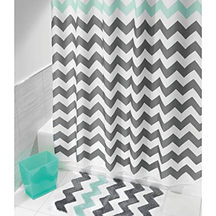 Grey Aqua Blue Chevron Pattern Shower Curtain 72quotx72quot Beautiful Horizontal Zigzag Stripes