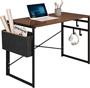 """JSB Folding Computer Desk with Storage Bag and Hook, Writing Desk Modern Industrial Work Table Laptop Desk for Home Office (39.37"""" x 19.69"""" x 29.53"""", Brown)"""