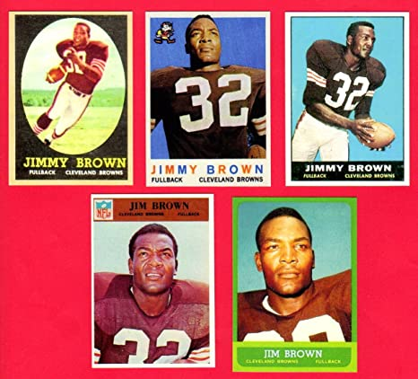 Jim Brown 5 Card Reprint Lot Featuring 1958 Rookie Reprint