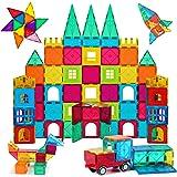 AFUNX 130 PCS Magnetic Tiles Building Blocks 3D Clear Magnetic Blocks Construction Playboards, Inspiration Building Tiles Cre