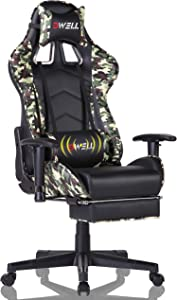 Office Chair Gaming Chair with Retractable Footrest High-Back Racing Chair Ergonomic Swivel PC Chair,PU Leather Executive Home Computer Chair with Headrest and Lumbar Massager Cushion (camo)