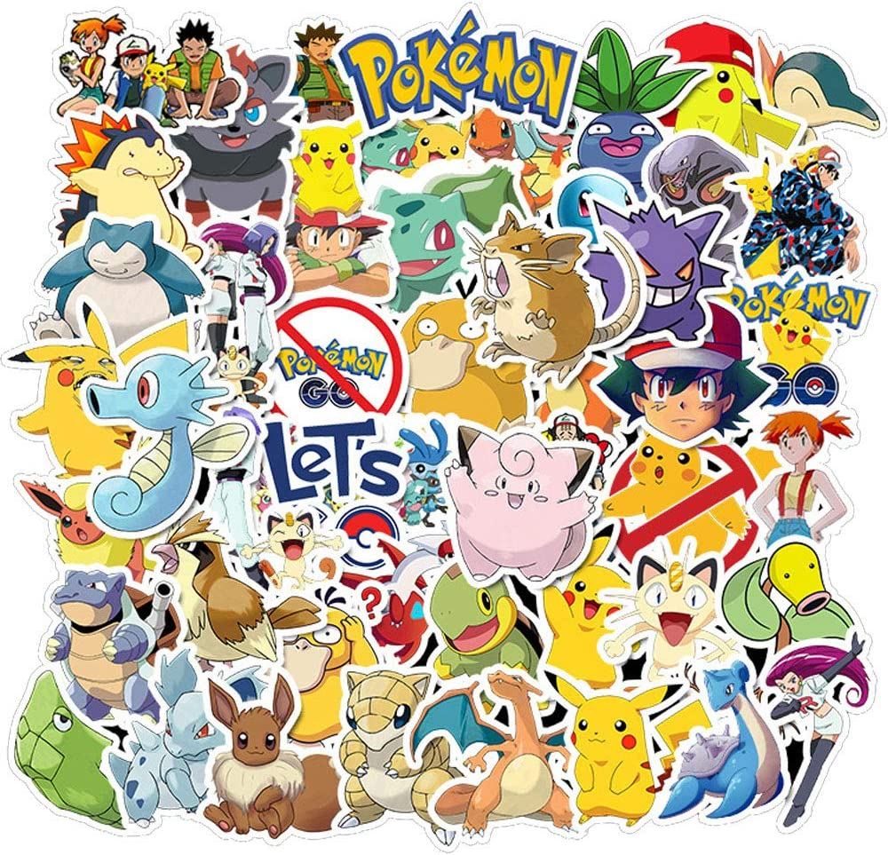 Ratgoo 50 Pcs Vinyl Cute Cartoon Anime Waterproof Graffiti Stickers Decals Pack for Pokemon Laptop Water Bottle Car Bumper Skateboard Luggage iPhone Laptop Bike Guitar Girls Kids Teens Boys