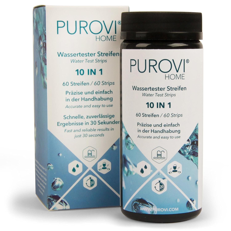 Purovi® Kit de Tiras para Análisis de Agua 10 en 1 | 60 Tiras para Medición de Agua de Piscina, Acuario | Resultado en 30 Segundos | Test PH Cloro Plomo ...