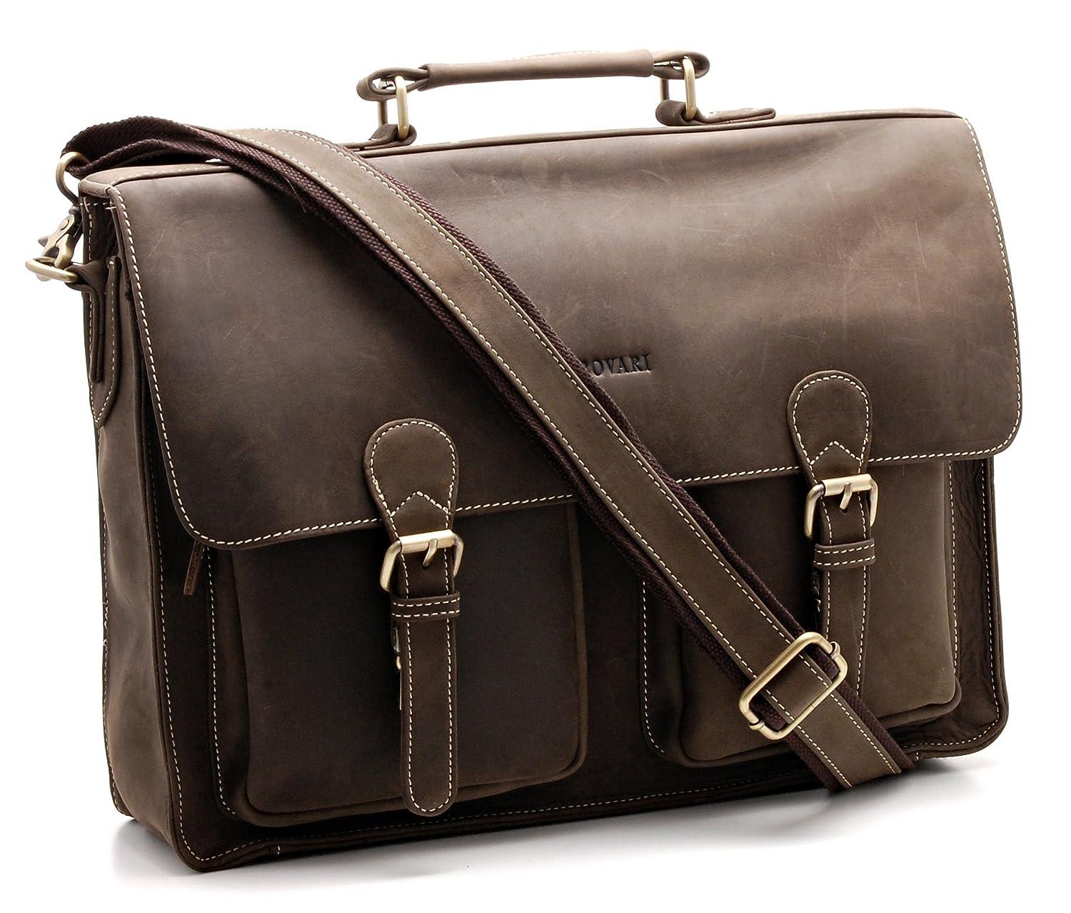Bovari Herren Echt Leder Aktentasche Laptoptasche Notebooktasche groß (13, 3 Zoll bis 15, 6 Zoll) Umhängetasche V4 - Vintage XL Edition (braun) BOV707