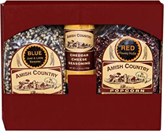 product image for Amish Country Popcorn | 2 (2 Lb Bags) Red & Blue Kernels and Cheddar Cheese Seasoning Gift Set | Old Fashioned with Recipe Guide