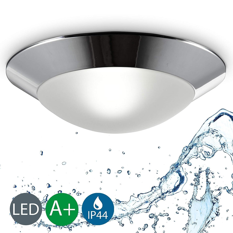 Baddeckenleuchte I Chrom Weiß I Silber I Deckenleuchte I Badezimmer-Lampe I LED-fähig I rund I max. 40 W I 230 V I IP44 I Ø 310 mm B.K.Licht BKL1020