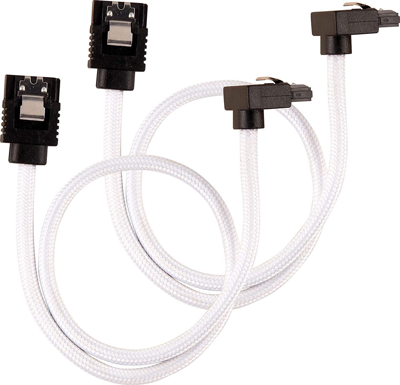 Corsair 30cm White Premium Braided Sleeved 90/° SATA Data Cable