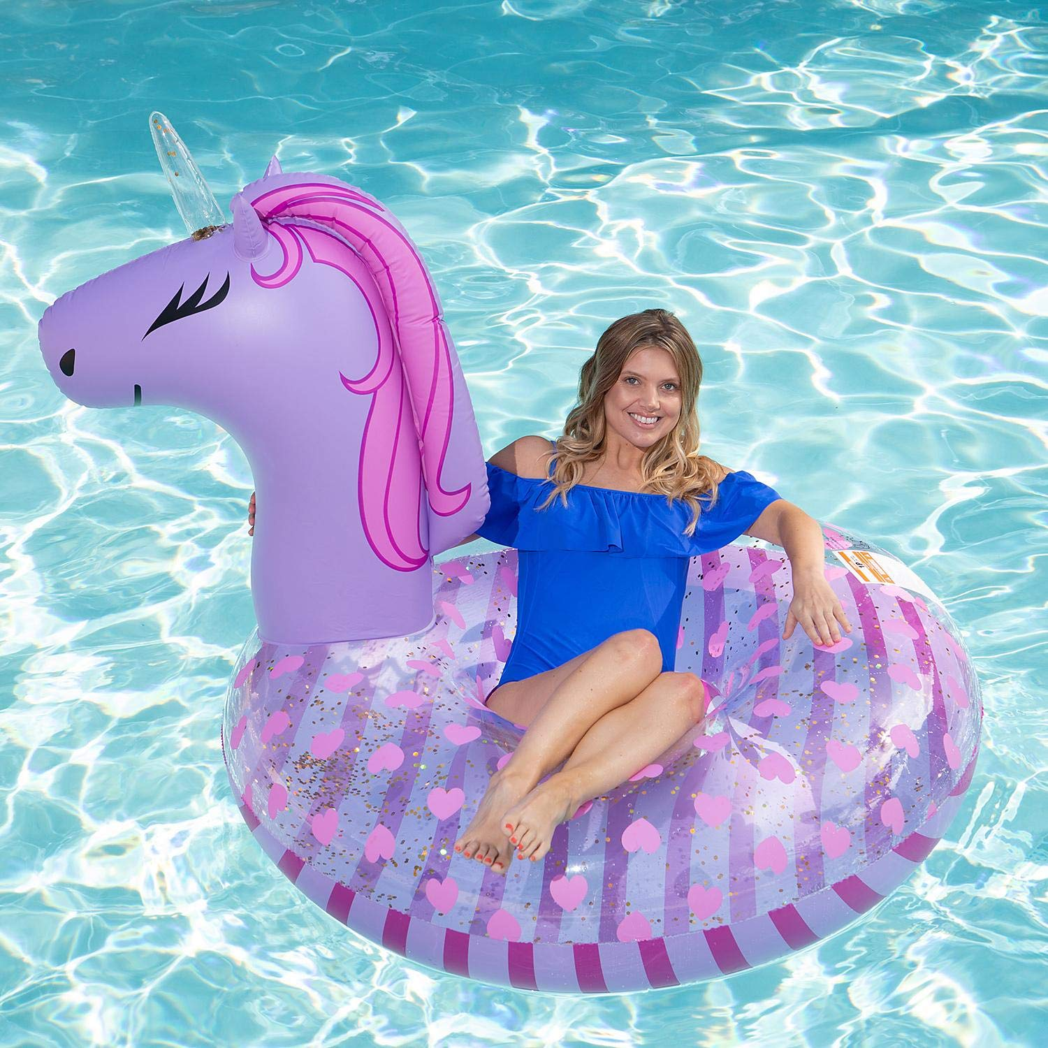 SC Pool Animal Inflatable Float Ring Swimming Pattern Adult New Beach Water Adults Ride Toy Floats (Purple Unicorn) by SC