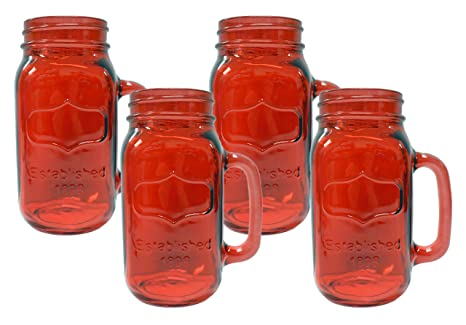 4 Yorkshire Peice Red Jar Ounce Mugs 24 Mason 6I7fbyYgv