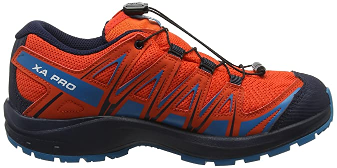 Salomon XA Pro 3D CSWP K Child Running Shoes cherry tomatonavy blazerfjord blue