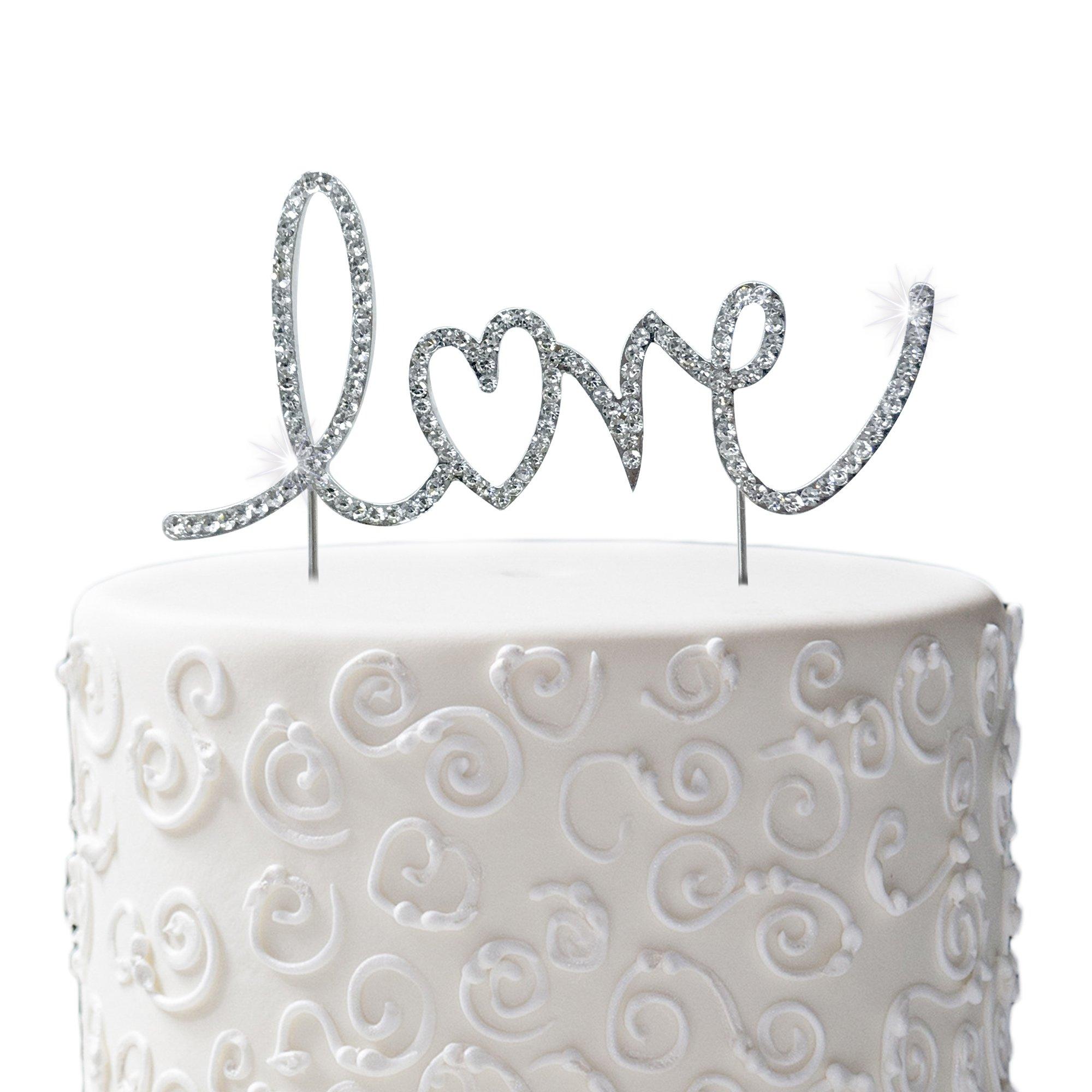 JennyGems Wedding & Anniversary Silhouette Rhinestone Letters Cake Topper - Love