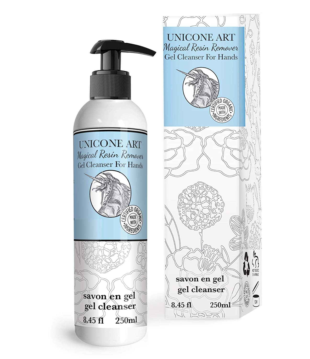 Magical Resin Remover - All Natural - Hand Gel Cleanser - Soap - Moisturizing - for Artists - for use with paint, glues, epoxies, glitter - 8oz.