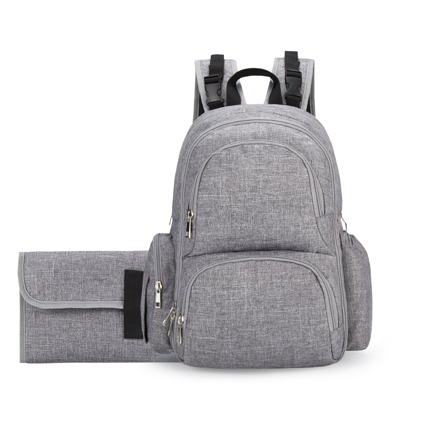 Backpack Diaper Bag for Mom - and Dad | Stroller Straps, Changing Pad, Wipe Dispenser, Insulated Pockets | Baby Bags for Girls and Boys | Baby Shower 2018 (Gray)