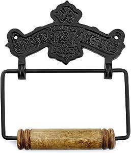 AuldHome Farmhouse Cast Iron Toilet Paper Holder; Wall Mount Vintage Decor Style Black TP Hanger