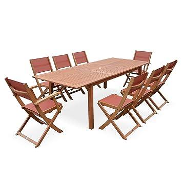 Salon de Jardin en Bois Extensible - Almeria - Table 180/240cm avec ...