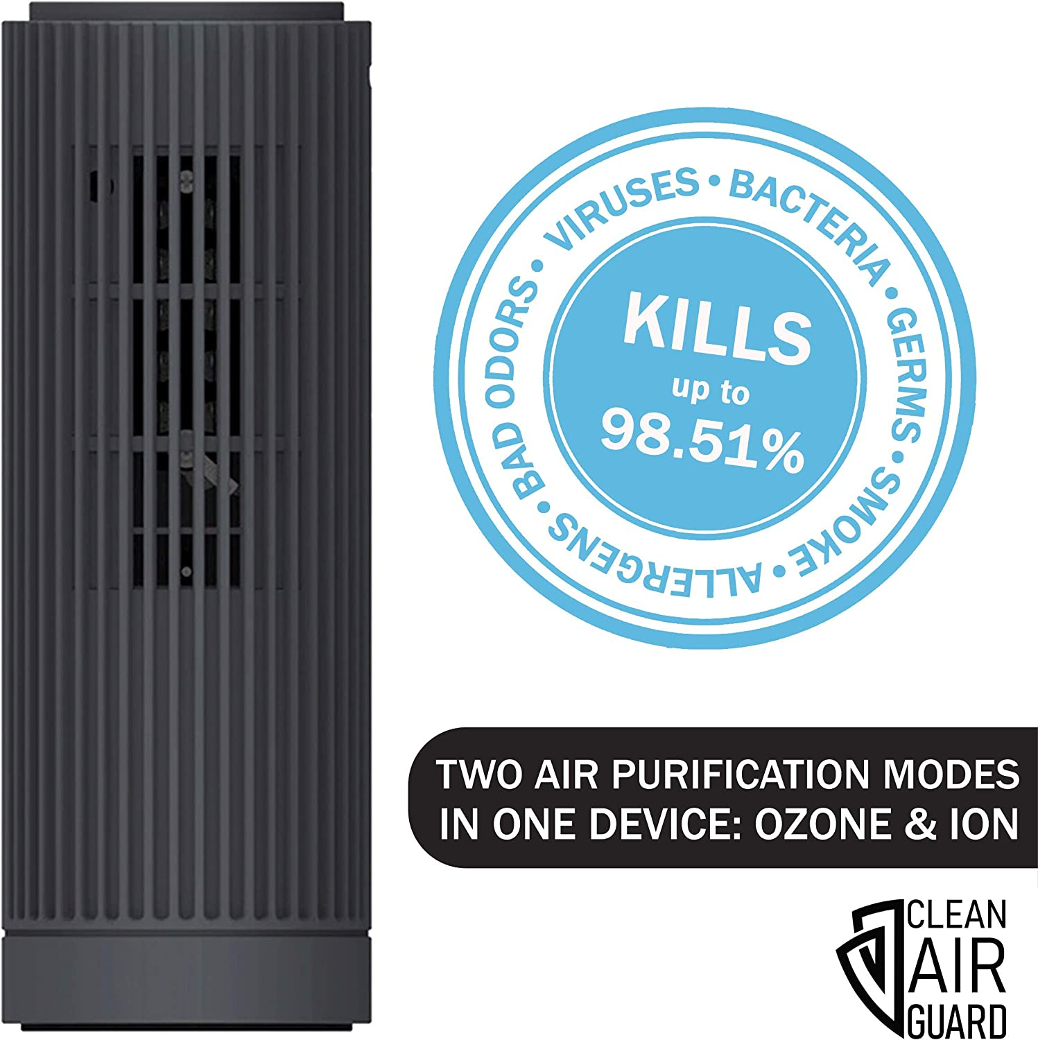 Clean Air Guard Portable Ozone Generator & Ionizer Air Purifier for Home, Car, Office. Remove Viruses, Bacteria, Germs, Smoke, Dust, Mold, Pollen, Pet Dander, Allergens. Quiet Air Cleaner, Dark Gray